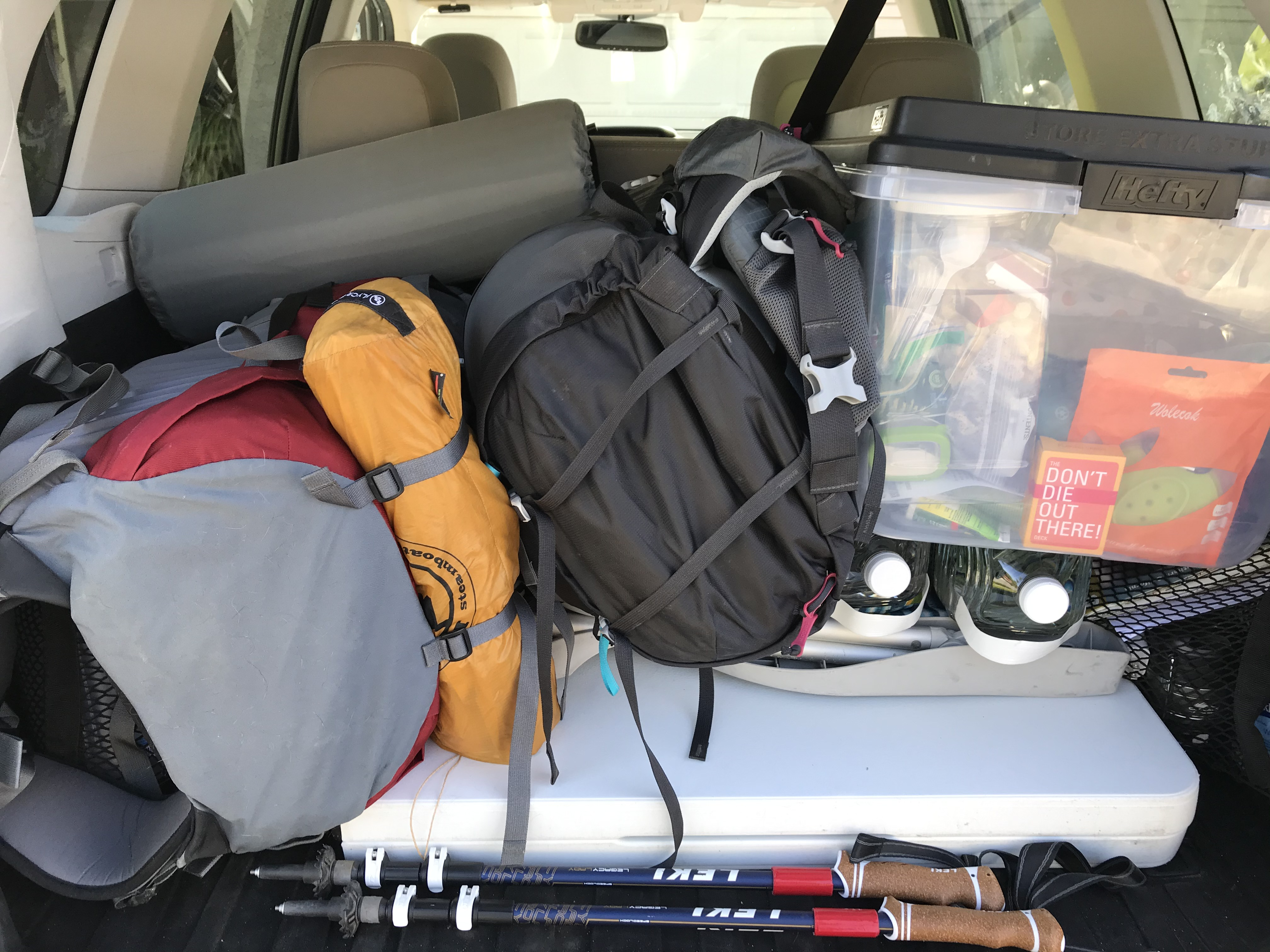 Backpacking Gear in the Car